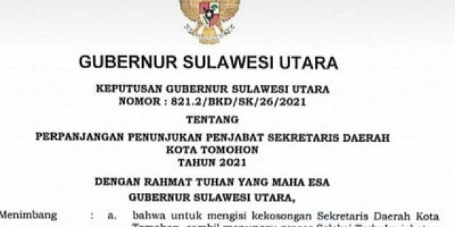 Gubernur Olly Perpanjang Pj Sekkot Tomohon 3 Bulan