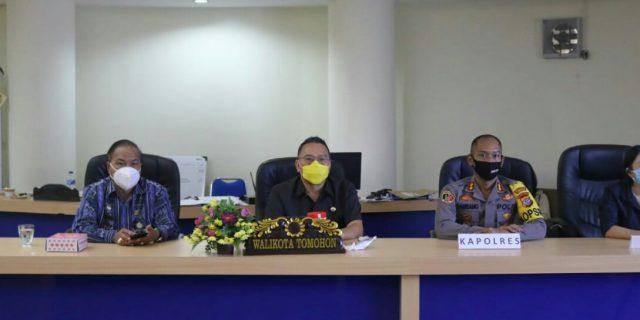 Walikota Tomohon Ikuti Rakor Aman dan Sehat Pilkada Serentak 2020
