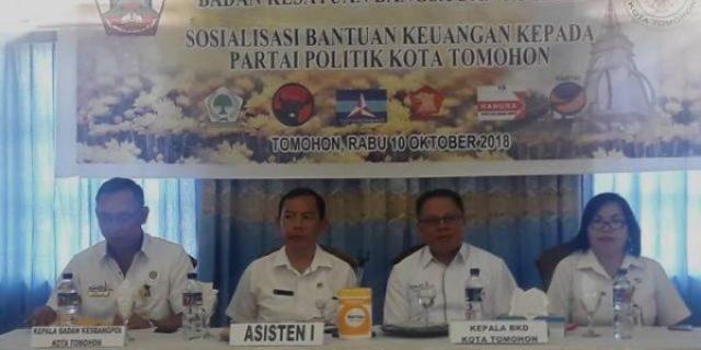 Pemkot Tomohon Sosialisasi Bantuan Keuangan Parpol